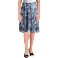 NY Collection Womens Petites Peasant, Boho Skirt Sheer Floral Print - pm
