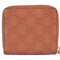 "Gucci Women's 346056 TAN Leather GG Guccissima French Zip Wallet W/Coin - 4"" x 4"""