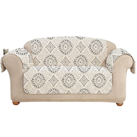 SureFit Medallion Printed Loveseat Furniture Cover with Pockets