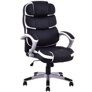 Costway Ergonomic PU Leather High Back Executive Computer Desk Task Office Chair Black