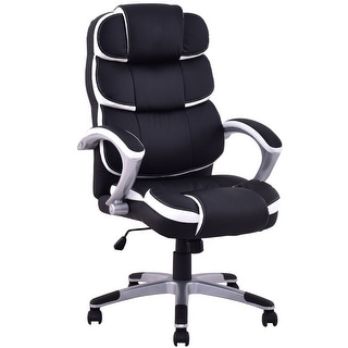 Delicieux Costway Ergonomic PU Leather High Back Executive Computer Desk Task Office  Chair Black