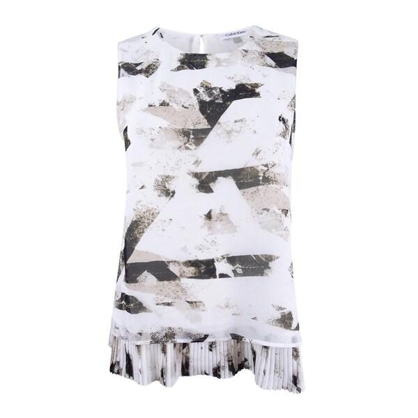 Calvin Klein Women's Petite Pleated Layered Shell Top (PM, Khaki Multi) - khaki multi - pm