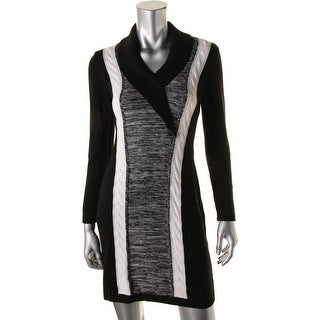 Calvin Klein Womens Petites Cable Knit Colorblock Sweaterdress