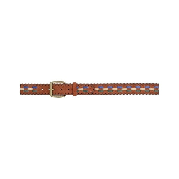 3D Belt Mens Western Roughout Lacing Brass Rustic Brown Turquoise