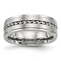 Stainless Steel Brushed and Polished Twisted 7 mm Band Ring - Sizes 7 - 13