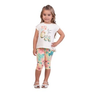 Pulla Bulla Toddler Girl 2-Piece Set Floral Tee and Leggings Outfit