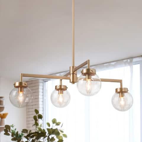 """Modern Gold 4-light Glass Chandelier for Living/ Dining Room - D27.6""""x H8.3"""""""