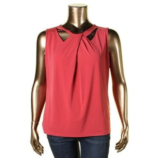 Nine West Womens Plus Camisole Top Jersey Criss-Cross Front