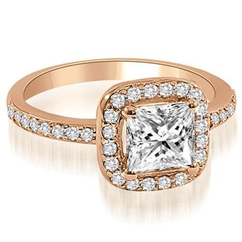 1.15 cttw. 14K Rose Gold Princess cut Halo Diamond Engagement Ring