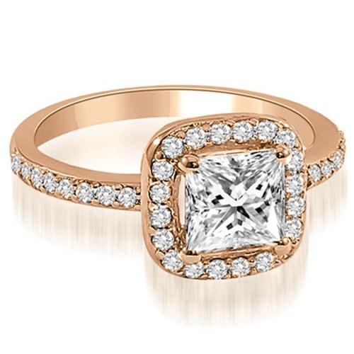 1.40 cttw. 14K Rose Gold Princess cut Halo Diamond Engagement Ring
