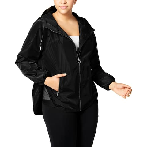 Calvin Klein Womens Plus Spectator Water Resistant Coat Fall Tech Pockets