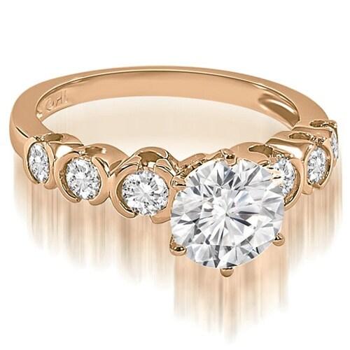 1.35 cttw. 14K Rose Gold Round cut Bezel set Diamond Engagement Ring