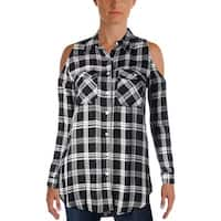Aqua Womens Button-Down Top Jersey Plaid