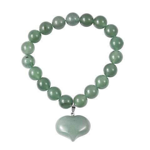 Green Aventurine Heart Charm Stretch Elegant Bracelet Ct 191.5