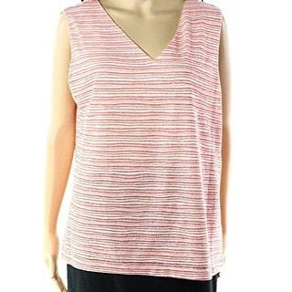 Nine West NEW Orange Women's Size Large L Tank Cami Striped Blouse