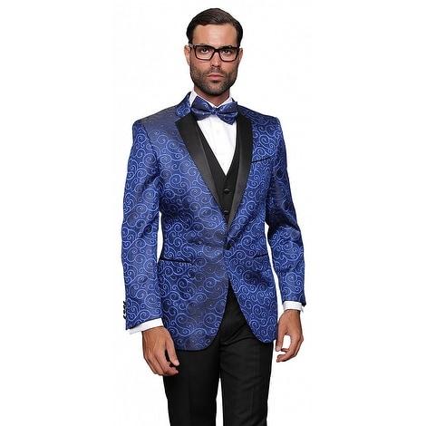 BELLAGIO Men's 3pc Royal Suit, Modern Fit, 2 Button, 2 Side Vent, solid black Flat Front Pants