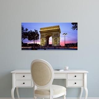 Easy Art Prints Panoramic Images's 'France, Paris, Arc de Triomphe, night' Premium Canvas Art