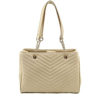 Lulu Guiness Quilted Front Tote Women Synthetic Tote - Ivory