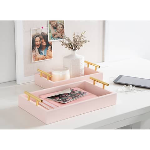 Kate and Laurel Lipton Rectangle Wood Tray Set - 2 Piece