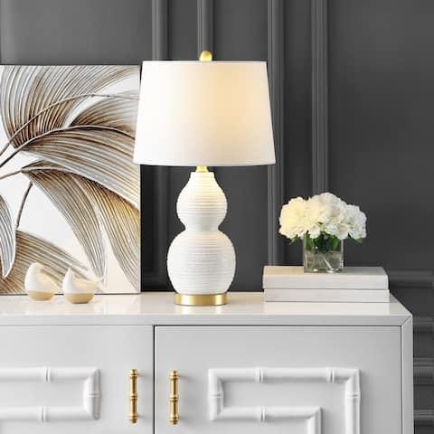 "SAFAVIEH Lighting 25-inch Darsa White LED Table Lamp - 14"" W x 14"" L x 25.5"" H"