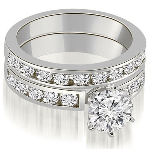 2.55 cttw. 14K White Gold Classic Channel Set Round Cut Diamond Bridal Set
