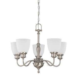 """Nuvo Lighting 60/2775 Bella 5 Light 24.5"""" Wide Chandelier with Frosted Linen Glass Shades"""