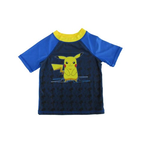 Pokemon Little Boys Royal Blue Pikachu Rashguard Short Sleeve