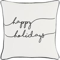 "18"" Jet Black and Polar White ""happy holidays"" Decorative Holiday Throw Pillow –Down Filler"