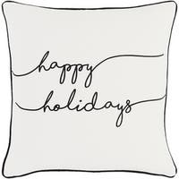 "18"" Jet Black and Polar White ""happy holidays"" Decorative Holiday Throw Pillow"