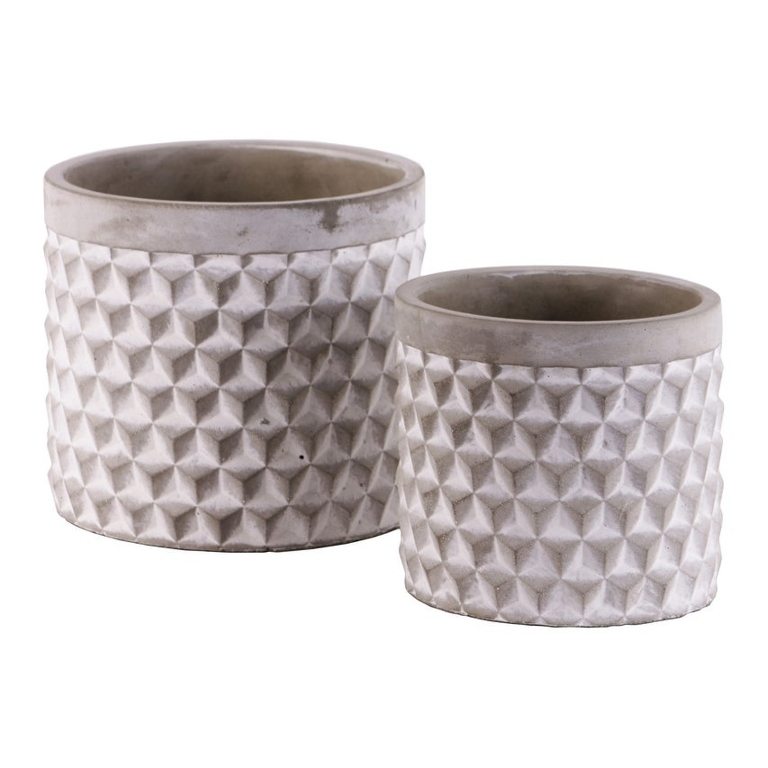 Cement Round Engraved Lattice Polygon Design Pot, Set of Two, Gray