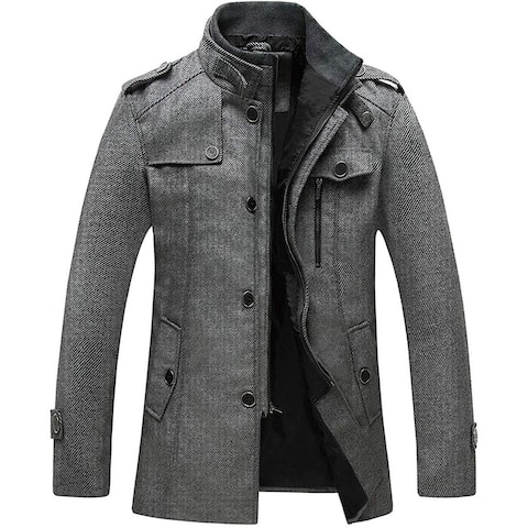 Wantdo Mens Coat Gray Size Large L Stand Collar Stripe Single-Breasted