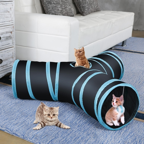 CO-Z Collapsible Cat Tunnel Tube Kitty Tunnel Bored Cat Pet Toys Peek Hole Toy Ball. Opens flyout.