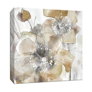 """PTM Images 9-147732  PTM Canvas Collection 12"""" x 12"""" - """"Taupe Spring Poppy II"""" Giclee Flowers Art Print on Canvas"""