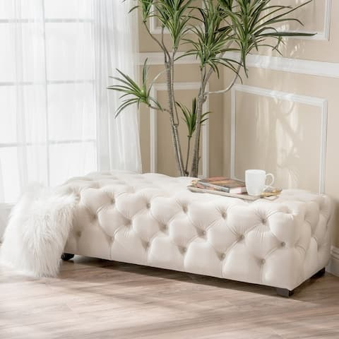 Piper Tufted Velvet Rectangle Ottoman Bench by Christopher Knight Home