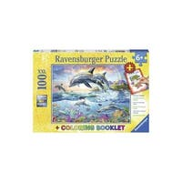 Vibrant Dolphins 100 Piece Ravensburger Puzzle and Coloring