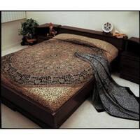 Jaipur Bagru Mandala Tapestry Tablecloth Throw Coverlet Bedspread Gorgeous Twin Full