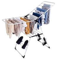 Costway Laundry Clothes Storage Drying Rack Portable Folding Dryer Hanger Heavy Duty - White