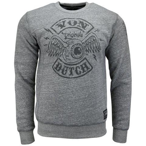 Von Dutch Fleece Tee Mens Top Casual T-Shirt Long Sleeve - Grey