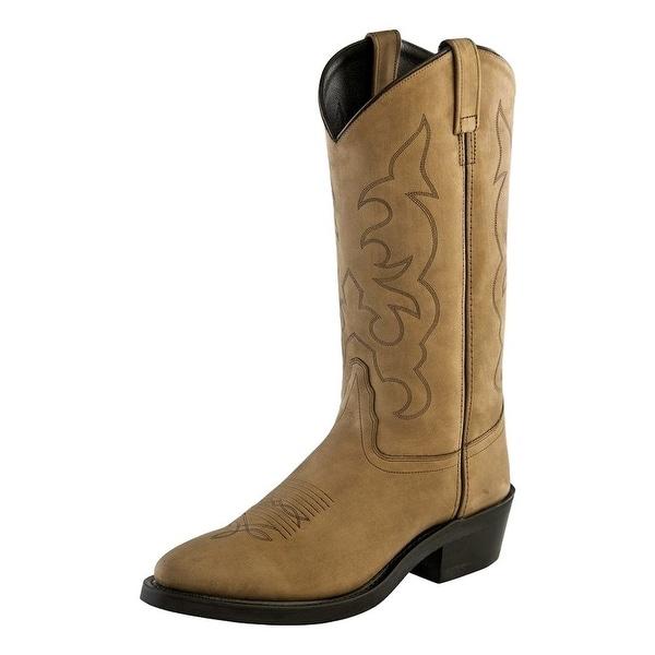 Old West Cowboy Boots Men Tough Work Outsole Narrow Toe Apache