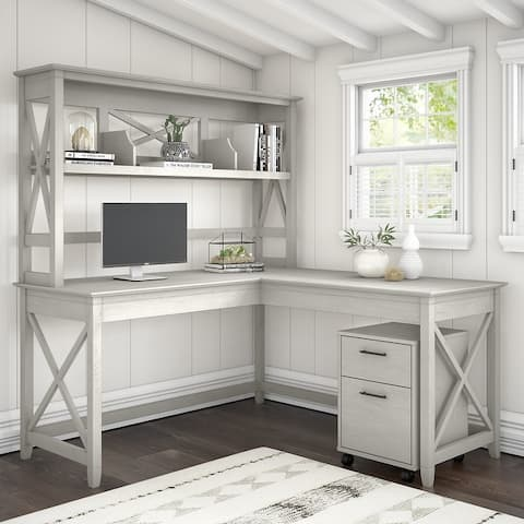 Key West 60W L Shaped Desk with Hutch and Drawers by Bush Furniture
