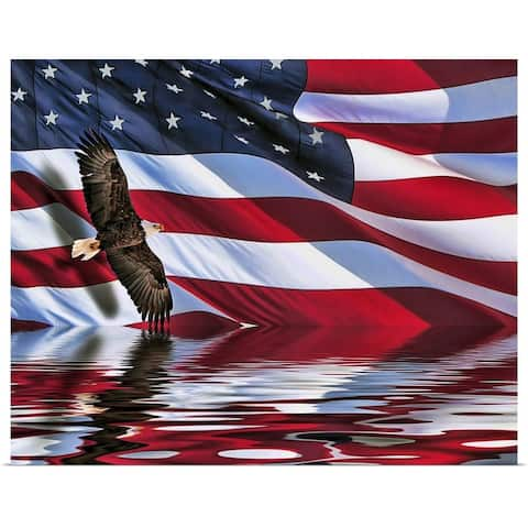 """""""Soaring bald eagle composite with an American flag"""" Poster Print"""