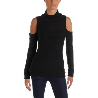 Aqua Womens Pullover Sweater Open Stitch Cold Shoulder