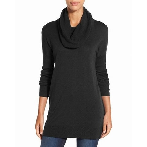Caslon Deep Black Womens Size Medium M Cowl Neck Tunic Sweater