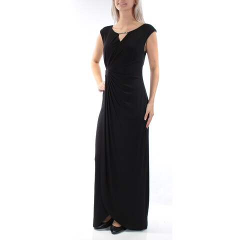 CONNECTED Womens Black Beaded Cap Sleeve Keyhole FullLength Formal Dress Size: 10