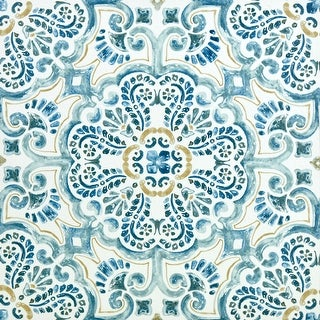 """Brewster FP2477  Fontaine 12"""" x 12"""" Square Floral Self-Adhesive Vinyl Peel and Stick Floor Tiles from the FloorPops Collection"""
