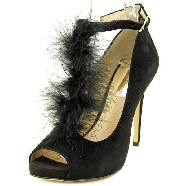 INC International Concepts Shiah Women Peep-Toe Suede Black Heels