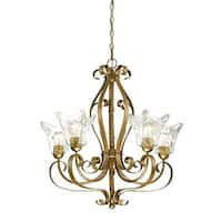 """Millennium Lighting 7425 Chatsworth 5 Light 26"""" Wide Chandelier with Fluted Glass Shades - vintage gold"""