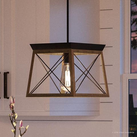 """Luxury Industrial Chic Pendant Light, 9""""H x 10""""W, with Modern Farmhouse Style, Olde Bronze Finish by Urban Ambiance"""