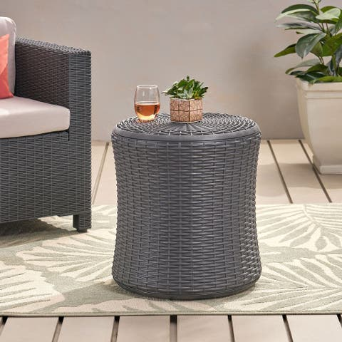 Simone Faux Wicker Storage Side Table by Christopher Knight Home