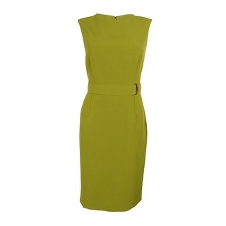 Kasper Women's Stretch Crepe Belted Sheath Dress (Lime Zest, 6)